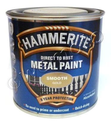 Picture of Hammerite Direct to Rust Metal Paint Smooth Gold 250ml