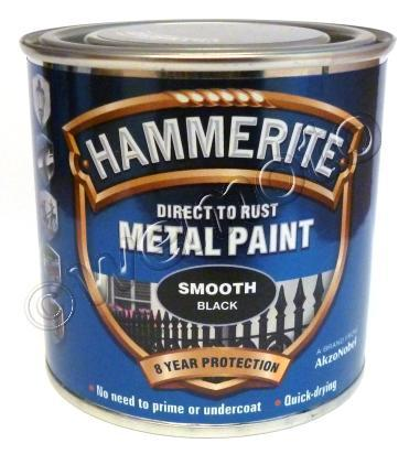 Picture of Hammerite Direct to Rust Metal Paint Smooth Black 250ml