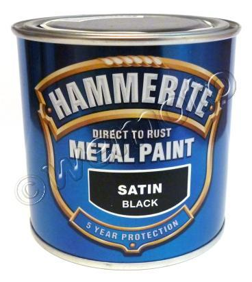 Picture of Hammerite Direct to Rust Metal Paint Satin Black 250 ml