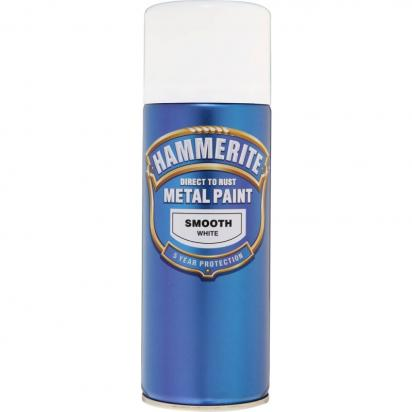 Picture of Hammerite Direct to Rust Metal Paint Smooth White 400ml Aerosol