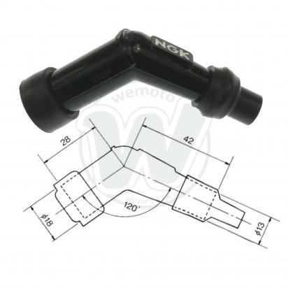 Spark Plug Cap NGK 120 degree Black