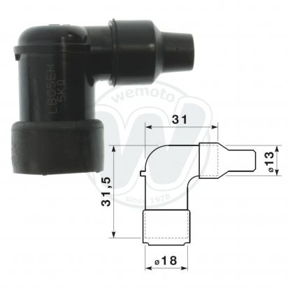 Picture of Spark Plug Cap NGK LB05EH with 90 Degree Elbow short for 14mm Plug Nipple Fitting