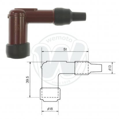 Picture of Spark Plug Cap NGK LB05F with 90 Degree Elbow for 14mm Plug Minimum  Red