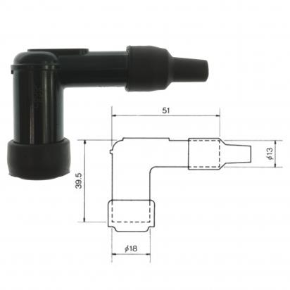 Picture of Spark Plug Cap NGK LB05F with 90 Degree Elbow for 14mm Plug Minimum Black