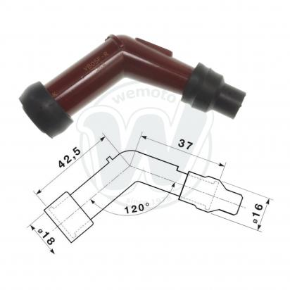 Picture of Spark Plug Cap NGK 120 degree Red