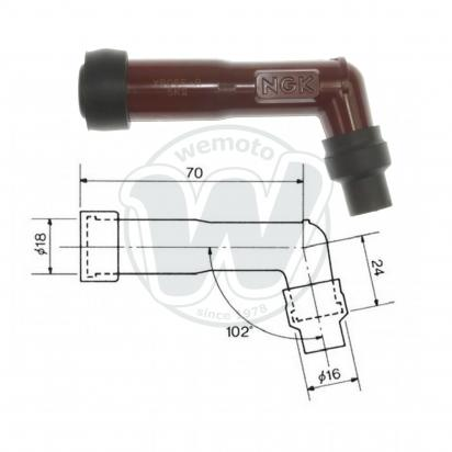 Picture of Spark Plug Cap NGK 102 degree Red