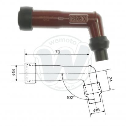 Spark Plug Cap NGK 102 degree Red