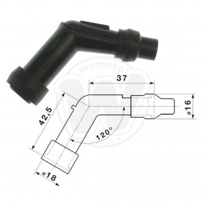 Picture of Spark Plug Cap NGK 120 degree Black