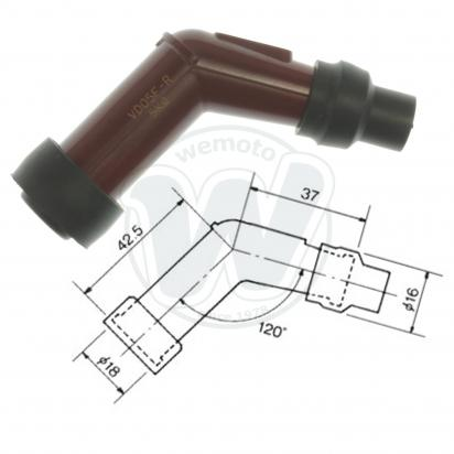 Spark Plug Cap NGK 120 degree Red