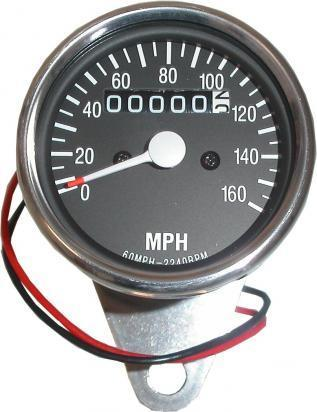 Picture of Speedo 160 MPH Black face with Chrome Body (60mm) with Rubber Mounted Bracket
