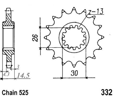 332-15 Front Sprocket Honda CB750 F2N-F2X [AC0541]