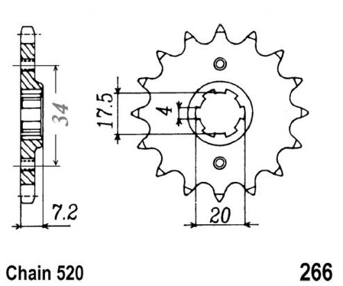 Picture of Honda CR 125 RZ 79 Sprocket Front Plus 2 Teeth - Pattern (Check Chain Length)