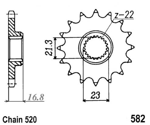 Picture of Yamaha XJR 400 (Japan) (4HM1/4HM2) 93-94 Sprocket Front - Pattern