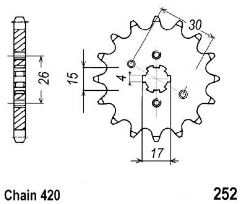 Picture of Honda XR 80 Z/A/B/C 79-82 Sprocket Front - JT