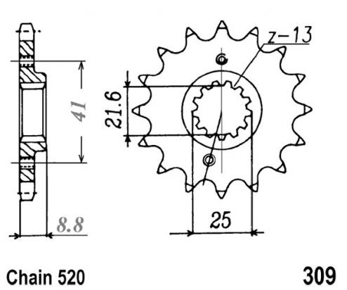 Picture of Sprocket Front Plus 1 Tooth - JT (Check Chain Length)