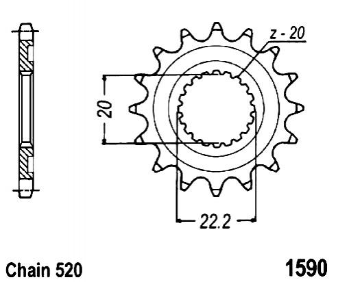 Picture of Front Sprocket JTF 1590 x 14 Teeth Self Cleaning - 2010-2014 Yamaha WR250F Off Road Version