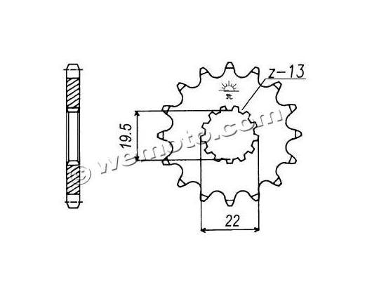 Picture of Sprocket Front Less 2 Teeth - Pattern (Check Chain Length)