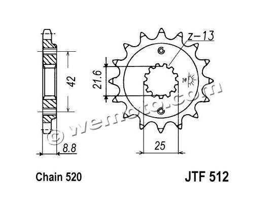 Sprocket Front Less 1 Tooth - JT (Check Chain Length)