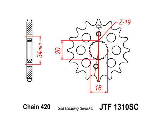 Picture of 1310SC Front Sprocket Honda CRF150 Self Cleaning
