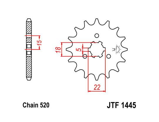 Picture of Sprocket Front Plus 2 Teeth - JT (Check Chain Length)