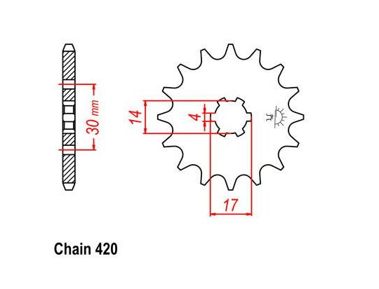 Picture of Kawasaki Max 100 91 Sprocket Front Plus 2 Teeth - Pattern (Check Chain Length)