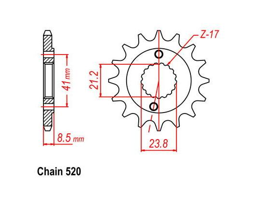 Picture of Honda TRX 420 FE7/TE7 Fourtrax Rancher 07 Sprocket Front - JT