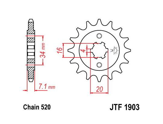 Sprocket Front Less 1 Tooth - JT (Check Chain Length) [AC1580]