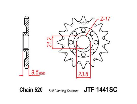 Picture of Front Sprocket JTF 1441 x 13 Teeth Self Cleaning