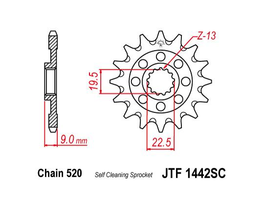 Picture of Front Sprocket JTF 1442 x 13 Teeth Self Cleaning - 2013-On Suzuki RM-Z250