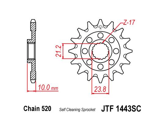 Picture of Front Sprocket JTF 1443 x 13 Teeth Self Cleaning - 2013-On Suzuki RM-Z450