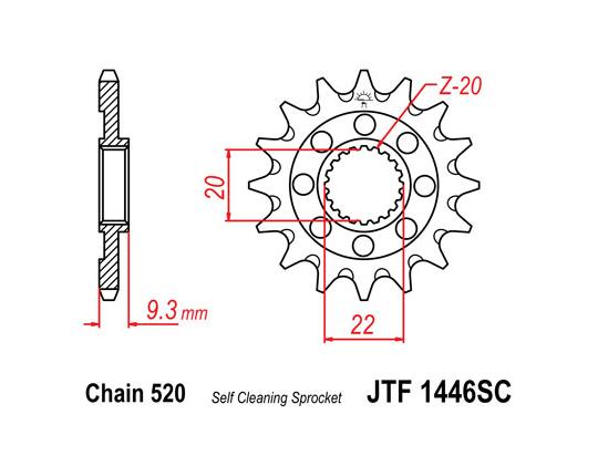 Picture of Front Sprocket JTF 1446 x 14 Teeth Self Cleaning