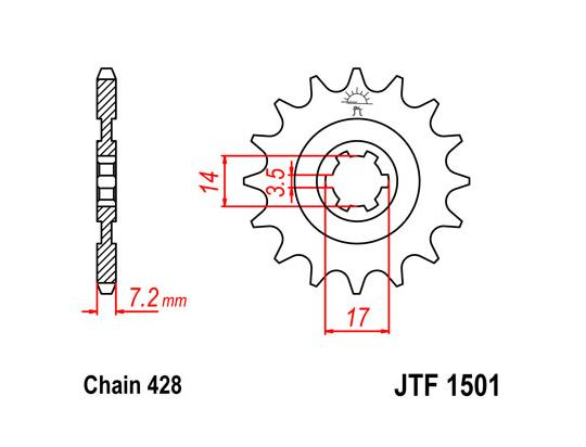 Sprocket Front Less 2 Teeth - JT (Check Chain Length)