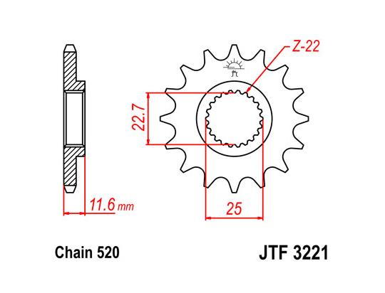 Picture of Polaris Scrambler 400  2x4 02 Sprocket Front Less 1 Tooth - JT (Check Chain Length)