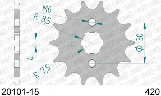 Sprocket Front Plus 2 Tooth - Afam (Check Chain Length)