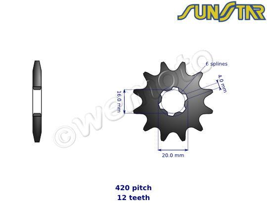 Picture of Yamaha TT-R 110 E 16 SunStar Sprocket Front Less 2 Teeth