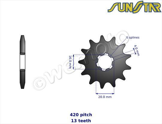 Picture of SunStar Sprocket Front Less 2 Teeth