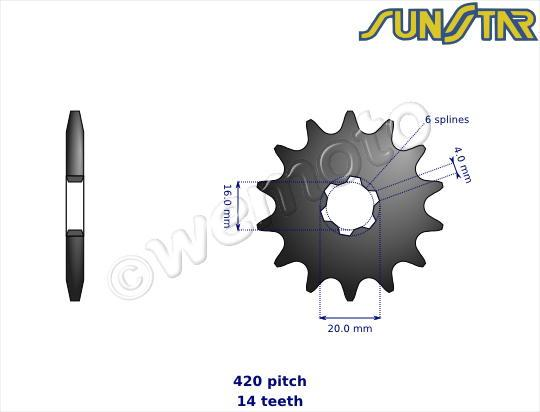 Picture of Yamaha DT 50 R 89-90 SunStar Sprocket Front Plus 1 Tooth