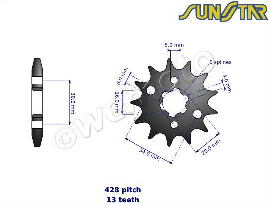 Picture of Yamaha YZ 80 H 81 SunStar Sprocket Front