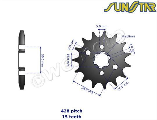 Picture of Yamaha YZ 80 H 81 SunStar Sprocket Front Plus 2 Teeth