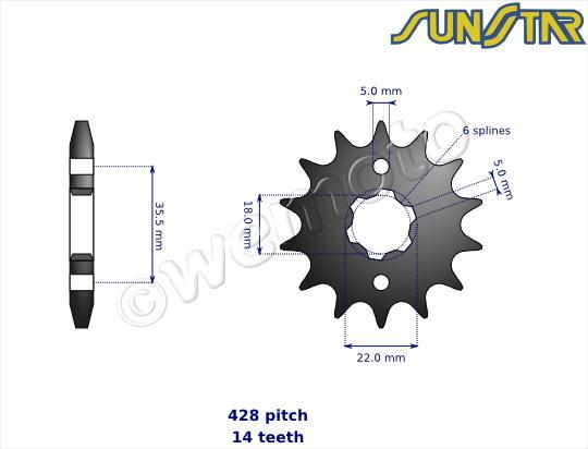 Picture of SunStar Sprocket Front Less 1 Tooth