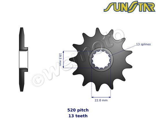 Picture of Beta Alp 4.0 11 SunStar Sprocket Front Less 2 Teeth