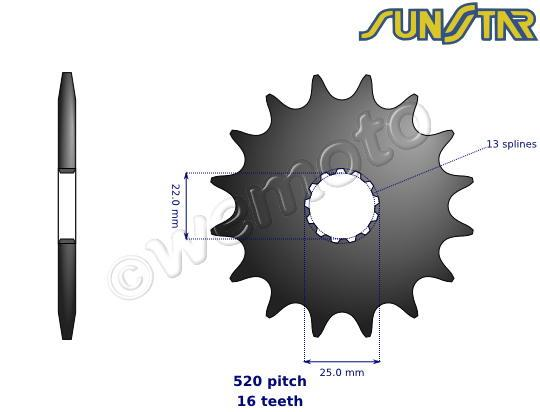 Picture of SunStar Sprocket Front Plus 3 Teeth