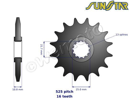 Picture of Yamaha TRX 850 96 SunStar Sprocket Front Less 1 Tooth