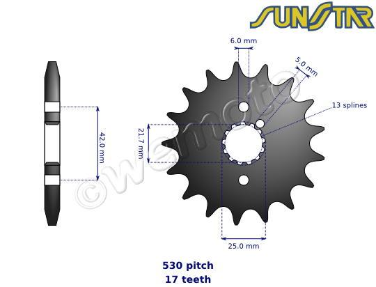Picture of Kawasaki Z 250 A3 81 SunStar Sprocket Front Plus 2 Teeth