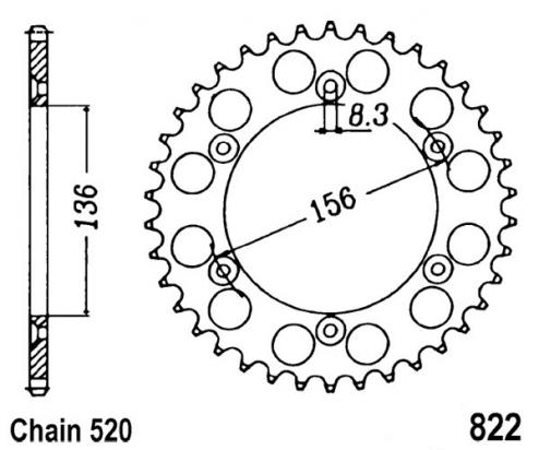 Sprocket Rear - Alloy - Plus 2 teeth (Check Chain Length)