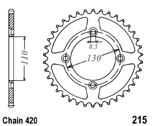 Picture of Rear Sprocket Alloy 49 teeth Honda CR85 R3-R5 Small Wheel 03-06  -1 tooth