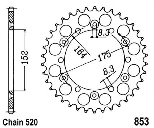 Picture of Sprocket Rear - Alloy - Plus 1 Tooth (Check Chain Length)