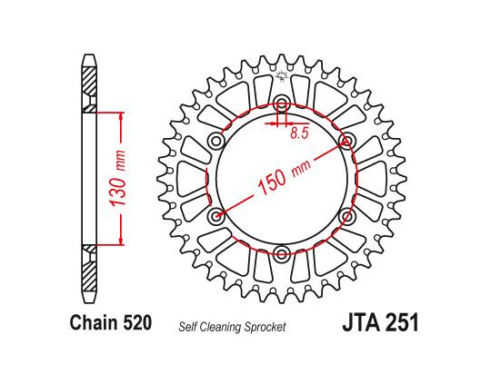 Picture of Sprocket Rear - Alloy - Plus 2 teeth (Check Chain Length)