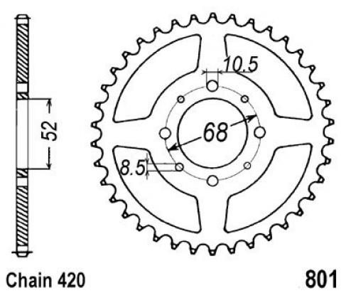 Picture of Suzuki FR 80 B 76-83 Sprocket Rear Plus 3 Teeth - JT (Check Chain Length)