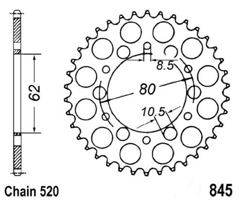 Picture of Yamaha IT 125 H/J 81-82 Sprocket Rear - JT